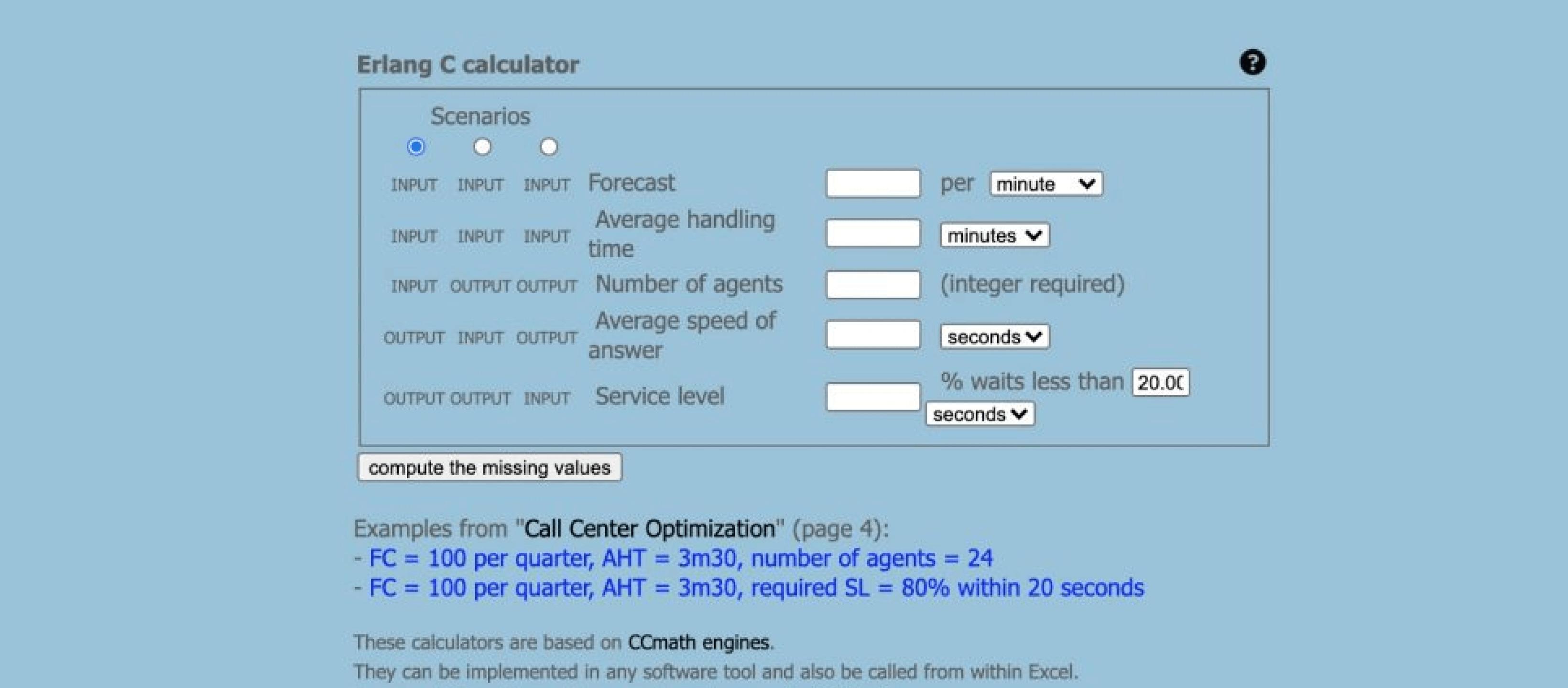 Erlang Calculator screenshot